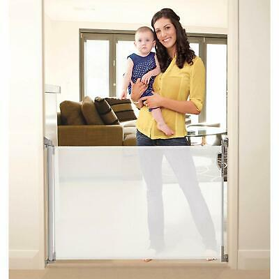 Stork Retractable Baby Pet Mesh Stair Gate - Up To 140cm - White