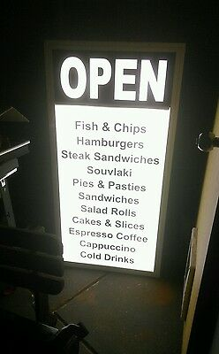 FISH & CHIPS*BUSINESS Advertising Board/SIGN*240VOLT~DISPLAY LIGHT BACKGROUND~$$