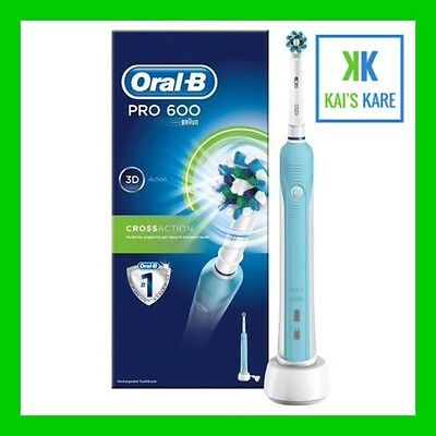 NEW Oral B Pro 600 Cross Action Electric Rechargeable Toothbrush FAST FREE POST