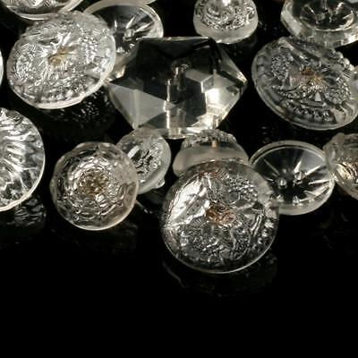Lot (30) Czech Art Deco vintage mixed geometric crystal crystal glass buttons