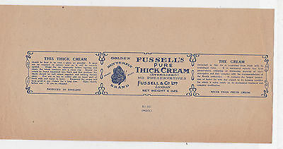 Golden Butterfly Brand, Fussell`s Pure Thick Cream  Original  Vintage Label