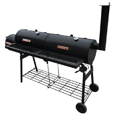 Smoker Charcoal Grill Barbecue BBQ Barbeque Garden Outdoor Portable Wood Black