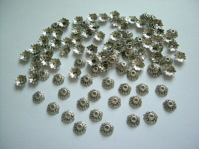 100pcs x 8mm Antique Silver Tibetan  Daisy Flower Bead Caps