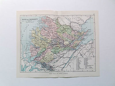 ROSS & CROMARTY MAP SCOTLAND ANTIQUE PHILIPS 1890  APPROX 7inx 9in VGC    9in