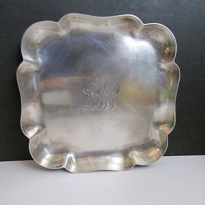 """TIFFANY & CO MAKERS STERLING SILVER HEAVY SQUARE SCALLOPED 5.5"""" TRAY 167g"""