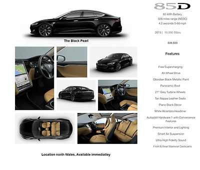 2015 Tesla Model S 85D in Obsidian Black with Tan Leather Interior.