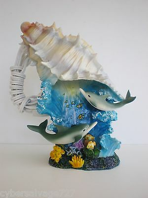 Dolphin And Conch Shell Seascape 110 V Night Lamp w Thumb Switch Nautical Decor