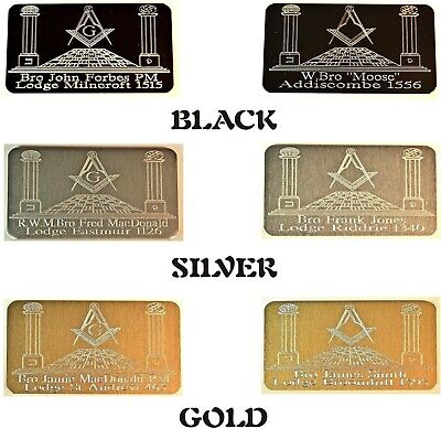 **masonic Personalised Briefcase Id Plate Plaque With Computerised Engraving**