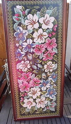 Huge pretty framed floral wool tapestry picture 97cm x 44 cm wall hanging art