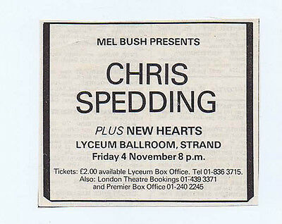 CHRIS SPEDDING / NEW HEARTS LYCEUM 1977 press clipping approx 10x8cm (5/11/1977)