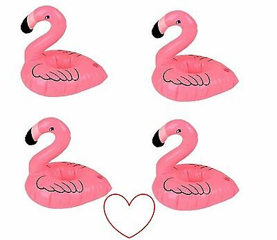 pink inflatable floating flamingo drink holder pool party bath hot tub