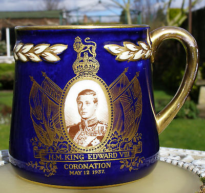 Edward Viii Crown Staffs  Royal Commemorative Blue Ground Mug