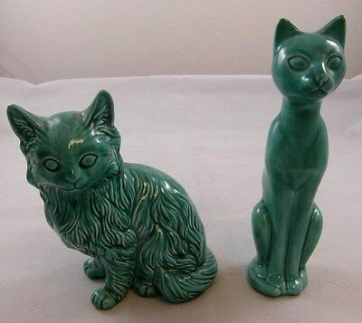 2x Jade Green China Persian/Siamese CATS Anglia Pottery Ornaments VERY GOOD COND
