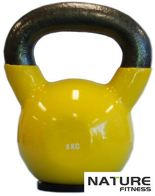 Nature Fitness 8kg Vinyl Kettlebell Weight Home - Gym - Russian Style (Special)