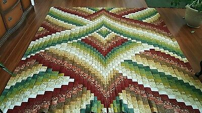 HANDMADE  BARGELLO  QUILT TOP EARTHTONE   COLORS  APPROX 90x78 (UNFINISHED)
