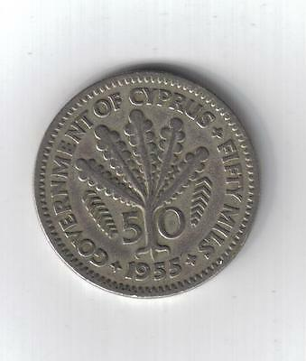 Cyprus Coin - 50 Mils - Issued 1955 - Free Postage