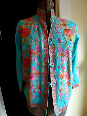 Lovely vibrant embroidered floral boho hippie nehru artsy jacket button front
