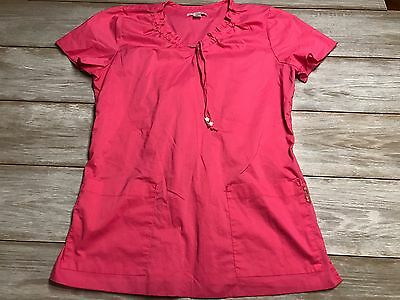 Women's Pink Koi Scrubs Top Size Medium