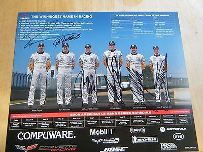 CORVETTE RACING 2006 HERO CARD 8.5 x 11 HAND SIGNED BY 6 DRIVERS RARE CARD