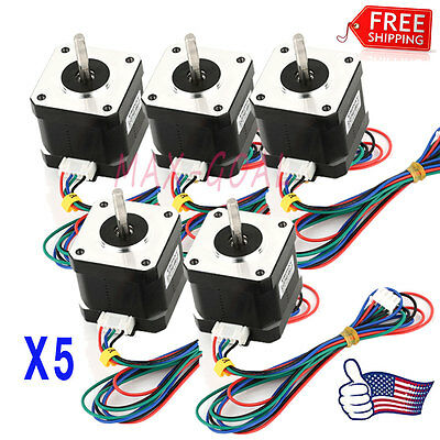 US Stock 5X Nema 17 Stepper Motor 1.7 A 0.59 Nm 84 ozin for 3D printer and CNC &