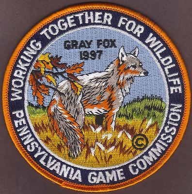 "Pa Pennsylvania Game Fish Commission NEW 1997 WTFW 4"" Grey Fox Wildilfe Patch"