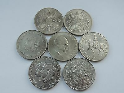 7 DIFFERENT COMMEMORATIVE CROWN COINS ref 138