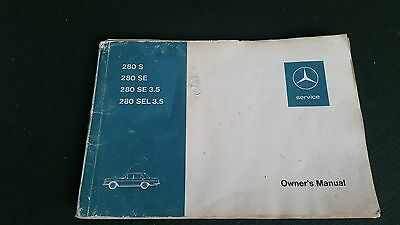 mercedes W108 owners manual 280S 280SE 280SEL 3.5