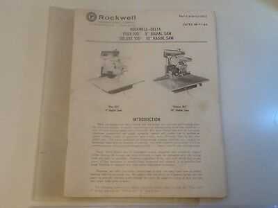 Rockwell-Delta Manual Dated 9-1-66 Radial Saws.