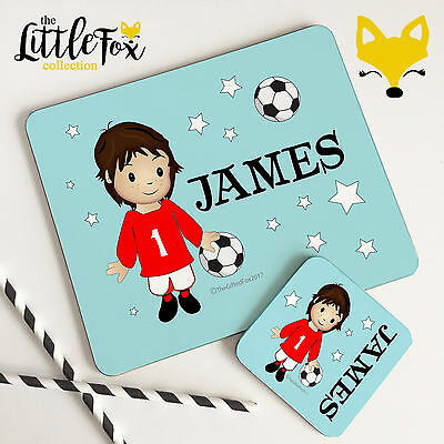 Personalised Wooden Glossy Brunette Footballer Placemat & Coaster Set for Kids