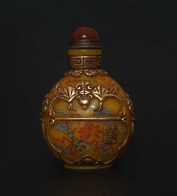 Antique Chinese Carved Coloured Glaze Gilding Snuff-bottle Qianlong Mark o18