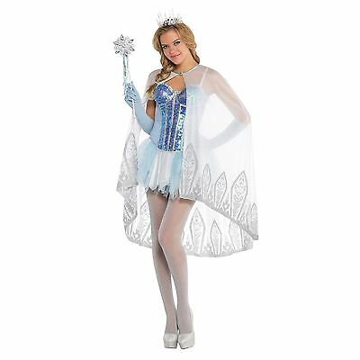 Ladies Blue Silver Shiny Shimmery Glittery Ice Fairy Cape Cloak Dress Snow Cloak