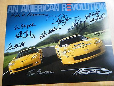 CORVETTE RACING HERO CARD 10 x 14 HAND SIGNED BY 12  RARE CARD