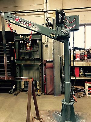 Good Venturo Truck Crane CT2003 2000 lbs. New parts, painted, on swivel base.
