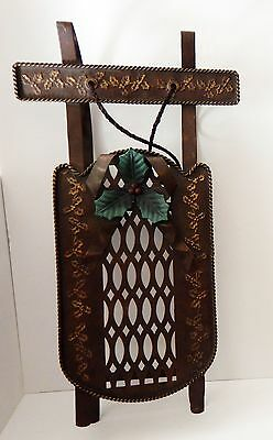 Sled Metal Holly Leaves Decor Christmas Holiday Country Garden Dolls
