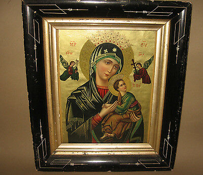 Vintage Mother of Perpetual Help Religious Icon Christian Art