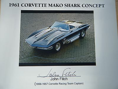 1961 Corvette Marko Shark Hand Signed Card By Racing Legend John Fitch Rare