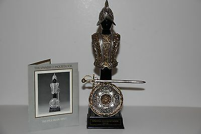 Franklin Mint SPANISH CONQUISTADOR 24k Gold Wash & Pewter Armor & Display Stand