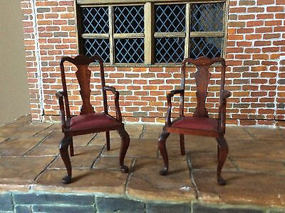 12 th Dolls House Miniature Pair of Carver Chairs By Escutcheon