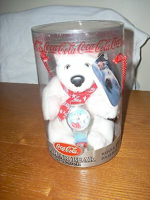 1999 COCA COLA  PLUSH POLAR BEAR & WATCH SET by CAVANAGH NIP