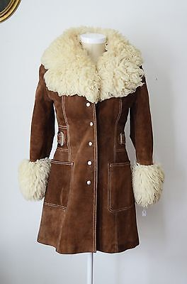 Vintage 1970s suede and shearling coat size Small