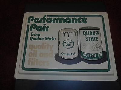 VINTAGE 1960's ORIGINAL QUAKER STATE OIL FILTER CAN PLASTIC SIGN EMBOSSED