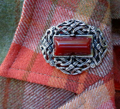 """SCOTTISH BROOCH with Dark Red """"CARNELIAN"""" Glass Stone Celtic Knot Pin"""