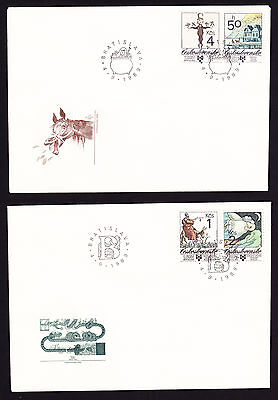 Czechoslovakia Book Illustrations for Children TWO FDC First Day Cover 1989 Art