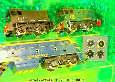 4x oo finer scale wheels for triang dock shunter, e3001 & transcontinental loco