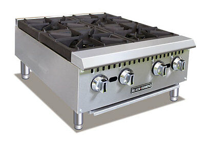 "Commercial 24"" 4 burner gas hotplate NAT or LP"
