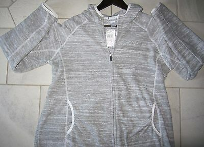 Nwt Motherhood Two Tone Gray Maternity Jacket Hoodie With Pockets Size Large