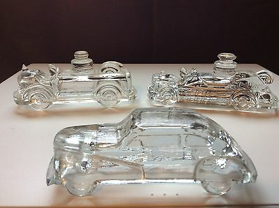 Lot Of 3 Vintage Candy Containers Victory Streamline Auto Fire Engine Stough