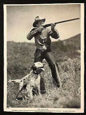 1934 Dog Print / Bookplate - ENGLISH SETTER, Joel McCrea, USA Radio Star & Dog