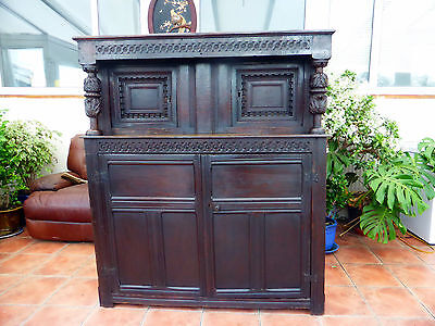 Elizabethan Country Oak Elm Slab Ends Carved  Court Cupboard 1580 Free Shipping