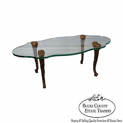 Vintage French Louis XV Style Gilt Wood & Glass Coffee Table